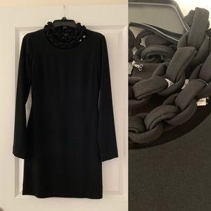 DVF Giada Black Long Sleeve Dress